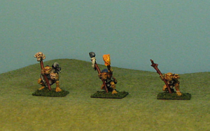 The finally set of pictures is the Goblin Shaman pack.  3 different poses and, likely, power levels of Shamans come in this pack.  One is rather ordinary, carying abig stick and pointing.  The middle Shaman has a torch.  An adventurer perhaps.  The Shaman on the left is a bit bigger, hunched over and has a vulture or buzzard on his shoulder.