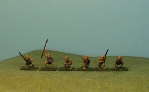 Goblin Factory Goblins come in like packs.  these are the Armored Spear Goblins.  They are what you would expect.  Goblins with spear and some with shield.  The one second from the right clutches his spear with 2 hands making an excellent candidate for a standard bearer.