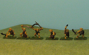 Sword Goblins also have six different poses.  The one with crossed swords would make a good commander.