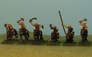 The Warg Riders are where the range really shines.  There are riders with axes, swords, spears or even bows.  Mine are 1 set of unarmored  spear and 1 set of command (3 per set).