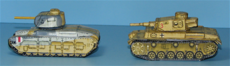 Matilda and Panzer III from the side.  Note the solid tracks.  No cutting out bogey wheels.  Just one solid foldable piece.